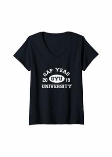 Womens Funny College Shirt GYU Gap Year University 2019 V-Neck T-Shirt