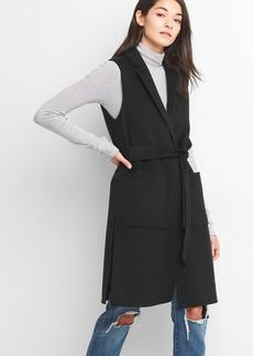 Wool tie-belt vest