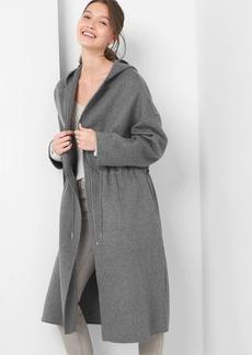 Wool zip hoodie coat