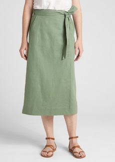 Gap Wrap Midi Skirt in Linen-Cotton