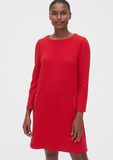 Gap Zip Pocket Textured Puff-Sleeve Dress
