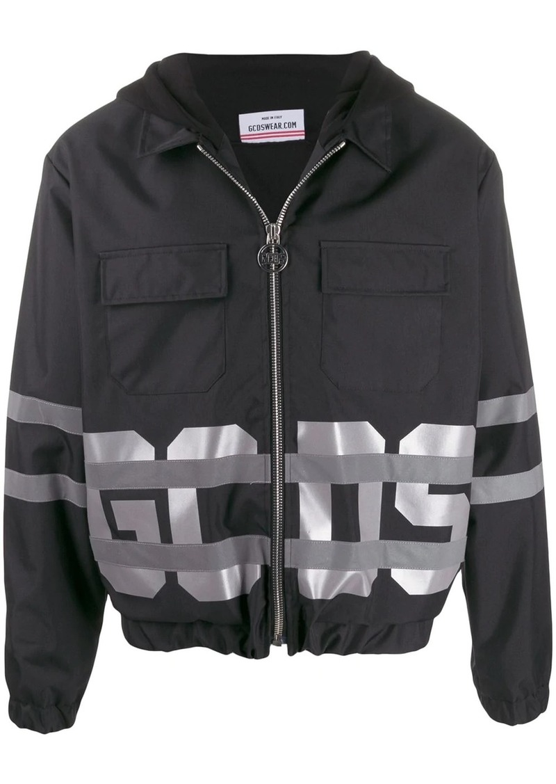 GCDS logo print hooded jacket