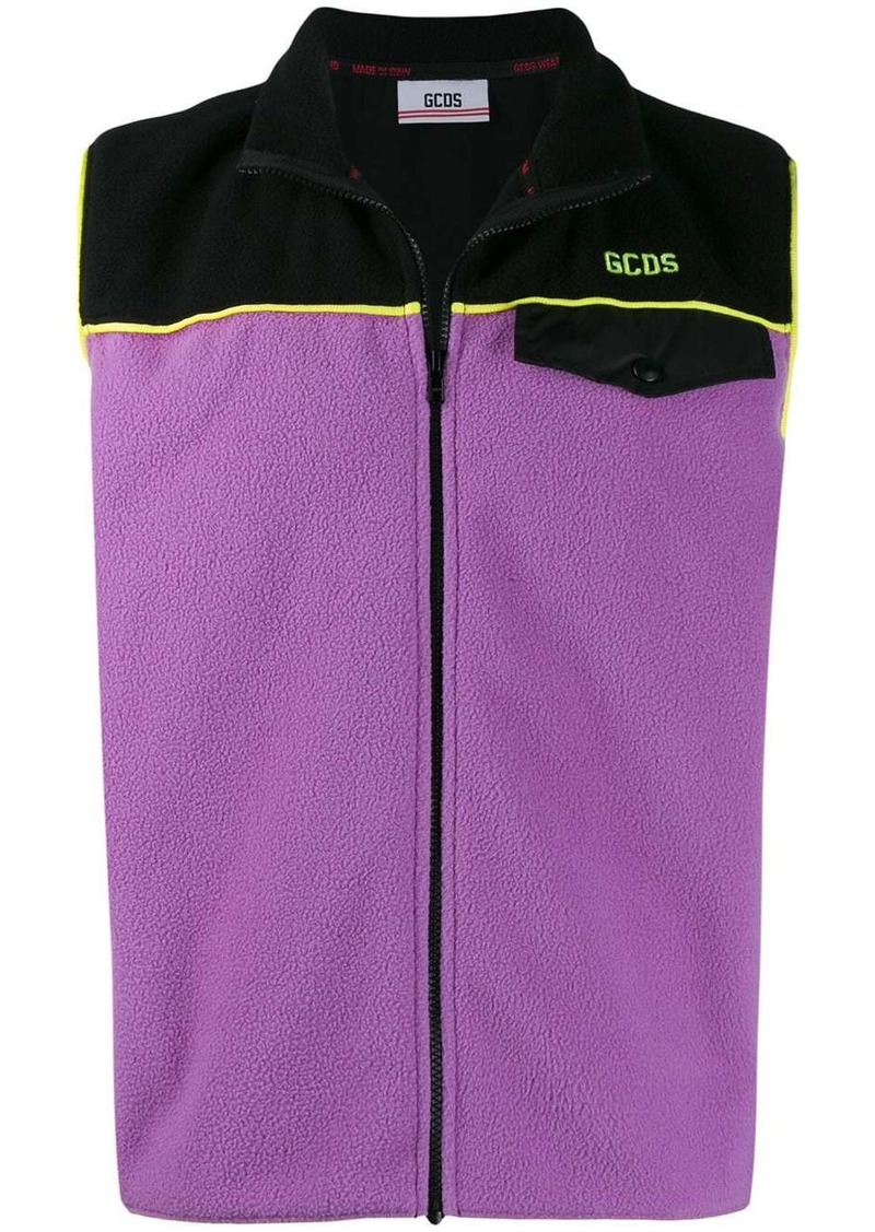 GCDS colour block fleece vest