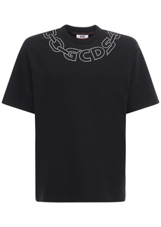 GCDS Cotton Chain & Logo T-shirt W/ Appliqué