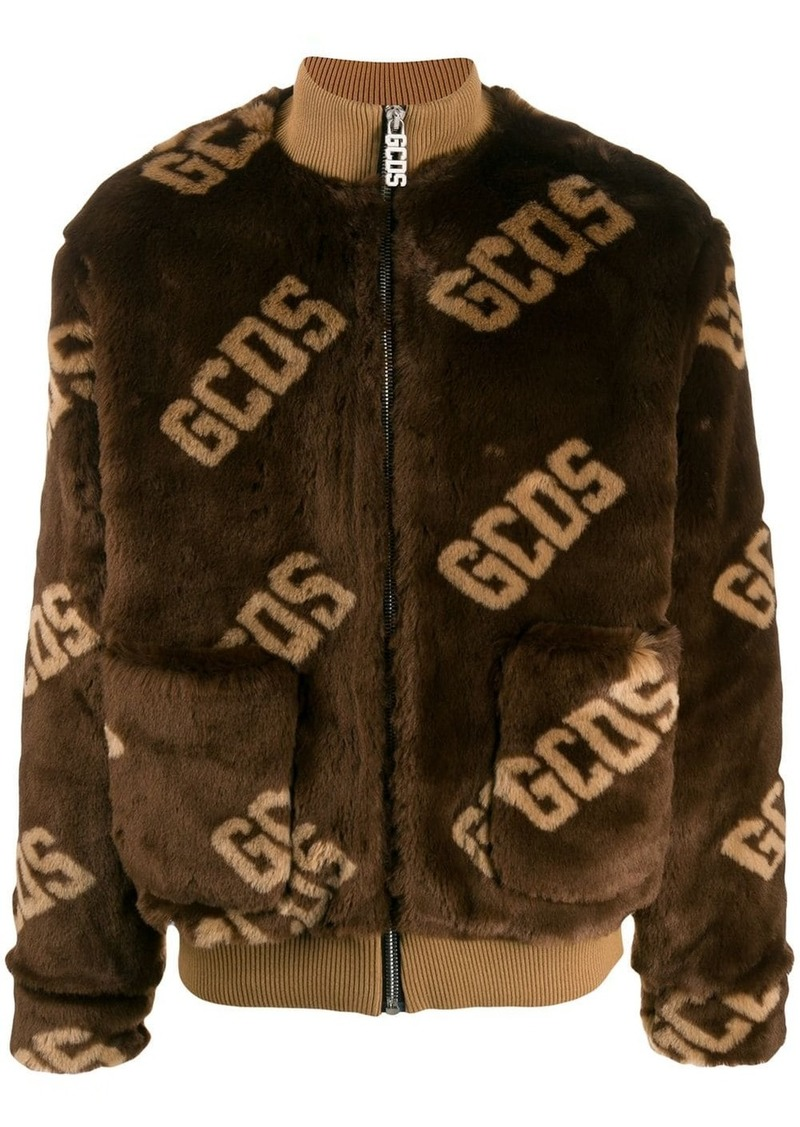 GCDS faux fur logo jacket