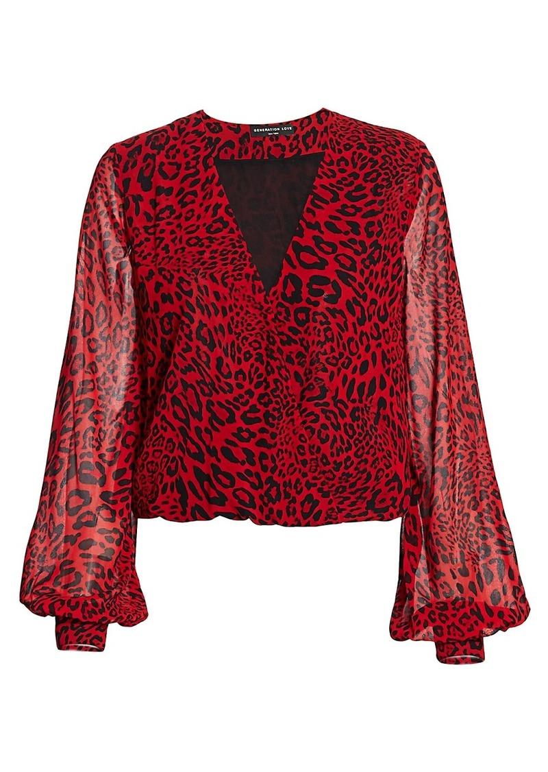 Dory Leopard-Print Semi-Sheer Blouse