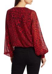 Generation Love Dory Leopard-Print Semi-Sheer Blouse
