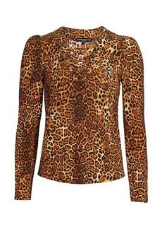 Generation Love Mandy Leopard Print Lace-Up Top