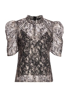 Generation Love Orla Lace Snake Print Puff-Sleeve Top