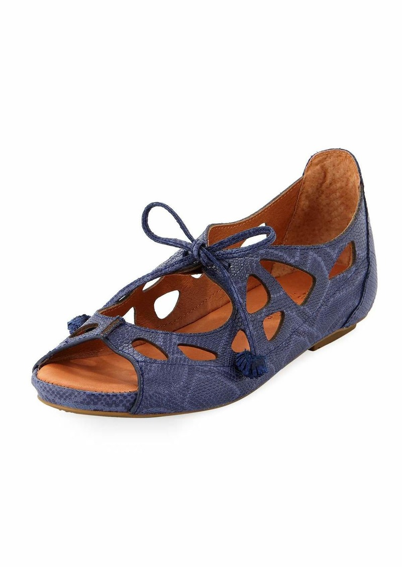 0e0f02fa46a4 Gentle Souls Brynn Snake-Embossed Lace-Up Sandal