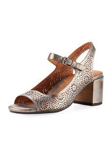 Gentle Souls Cheryl 2 Metallic Leather Chunky-Heel Mary Jane Pumps
