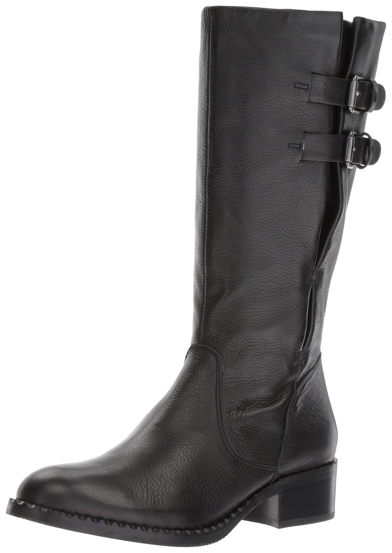 Gentle Souls by Kenneth Cole Women's Brian Mid-calf Boot with Buckle Detail Angled Topline Leather Harness Boot black  M US