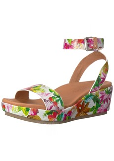 Gentle Souls by Kenneth Cole Women's Morrie Platform Wedge Sandal with Ankle Strap Sandal palm multi  M US