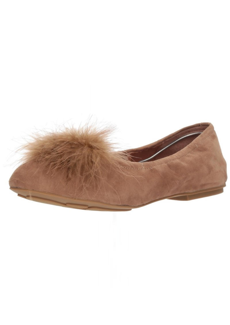 Gentle Souls by Kenneth Cole Women's Portia Pom Pom Ballet Flat with Feather Pom Shoe camel  M US