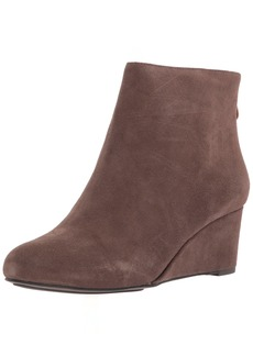 Gentle Souls by Kenneth Cole Women's Vicki Low Wedge Bootie Suede Ankle Bootie dark brown  M US
