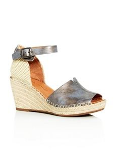 Gentle Souls Charli Nubuck Leather Ankle Strap Platform Wedge Sandals