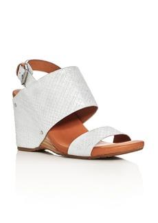 Gentle Souls Inka Metallic Embossed Slingback Wedge Sandals