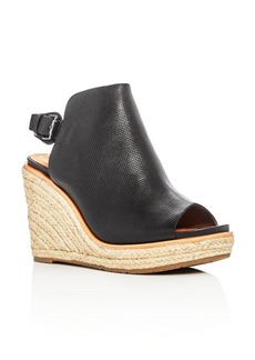 Gentle Souls Jacey Perforated Leather High Heel Wedge Sandals