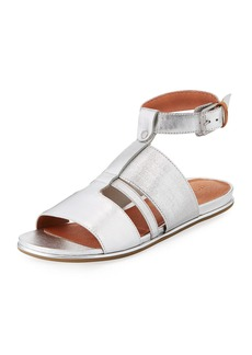 Gentle Souls Ophelia Easy Flat Metallic Sandal with Stretch Strap