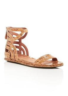 Gentle Souls Women's Larisa Glossy Cork Ankle Strap Demi Wedge Sandals