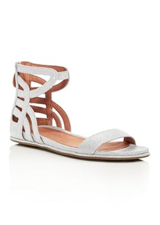 Gentle Souls Women's Larisa Snake Embossed Leather Ankle Strap Demi Wedge Sandals