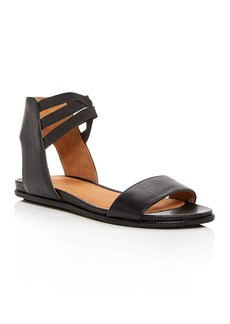 Gentle Souls Women's Lark-May Leather Ankle Strap Demi Wedge Sandals