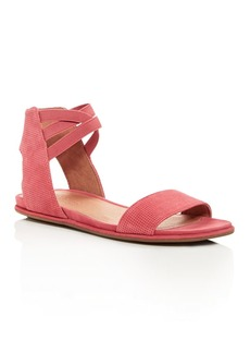 Gentle Souls Women's Lark-May Perforated Suede Ankle Strap Demi Wedge Sandals