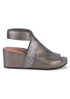 Gentle Souls Gianna Perforated Leather Wedge Sandals