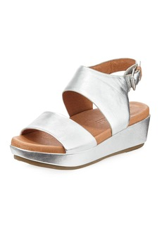 Gentle Souls Lori Metallic Leather Comfort Wedge Sandal