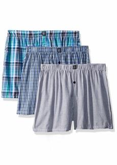 Geoffrey Beene Men's 3 Pack Soft Finish Assorted Boxers Gingham/Stripe/Light Blue