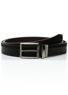 Geoffrey Beene Men's Big-Tall Reversible Dress Belt with Double Stitch Detail