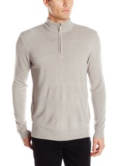 Geoffrey Beene Men's Long Sleeve Ribbed Yoke Quarter Zip Sweater