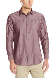 Geoffrey Beene Men's Sharkskin Woven Shirt  L