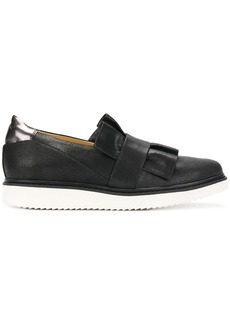 Geox frilled design flat loafers - Black