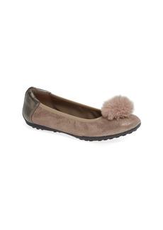 Geox Piuma Faux Fur Pom Glitter Ballerina Flat