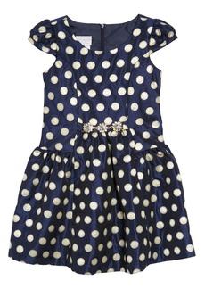 Gerson & Gerson Cap Sleeve Polka Dot Dress (Toddler Girls, Little Girls & Big Girls)