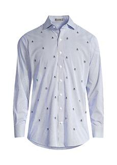 G/FORE Modern-Striped Skull-Print Dress Shirt