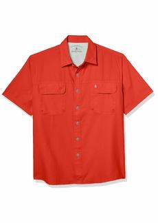G.H. Bass & Co. Men's Explorer Short Sleeve Button Down Fishing Shirt Solid Flap Pocket