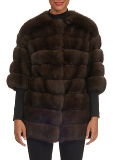 Gianfranco Ferré Crop-Sleeve Horizontal-Quilted Russian Sable Jacket
