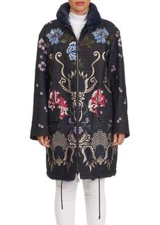 Gianfranco Ferré Reversible Embroidered Denim Mink Fur Stroller Jacket
