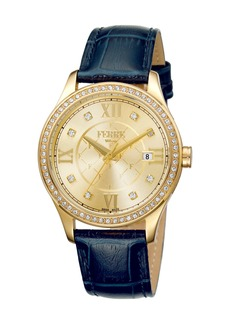 Gianfranco Ferré Women's 36mm Stainless Steel Three-Hand Date Glitz Watch with Leather Strap