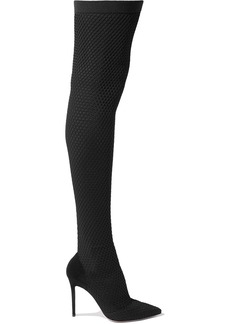 Gianvito Rossi 105 Suede And Honeycomb-knit Over-the-knee Sock Boots