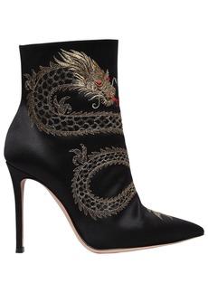 Gianvito Rossi 105mm Dragon Embroidered Satin Boots