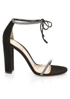 Gianvito Rossi Ankle-Tie Crystal-Embellished Iridescent Suede Sandals