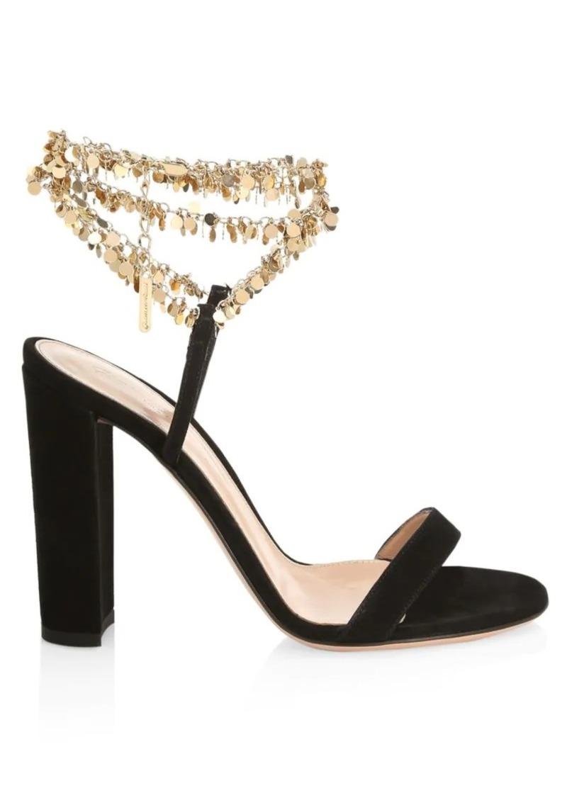 Beaded Suede Sandals