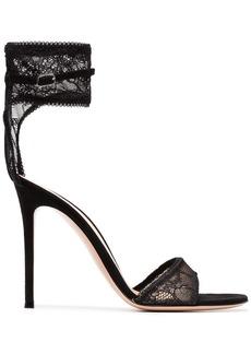 Gianvito Rossi black 105 lace ankle strap sandals