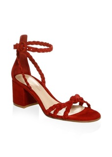 Gianvito Rossi Braided Suede Ankle Strap Sandals
