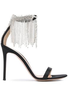 Gianvito Rossi crystal fringe trim ankle strap sandals