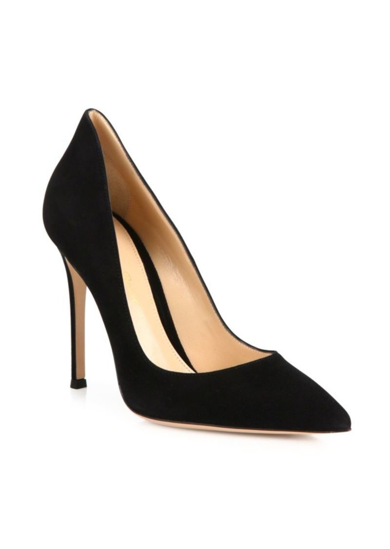 Gianvito Rossi Ellipsis High-Back Suede Point Toe Pumps