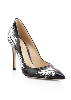 Gianvito Rossi Ellipsis High-Back Studded Leaf Leather Pumps